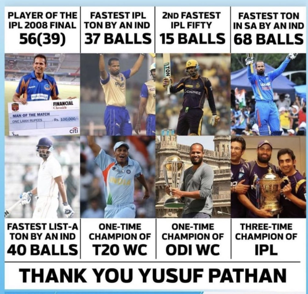 As @iamyusufpathan - a member of #TeamIndia's 2007 World T20 & 2011 World Cup triumphs - retires from all forms of the game, we wish him all the best for the future. 👏👏 Champion pathan