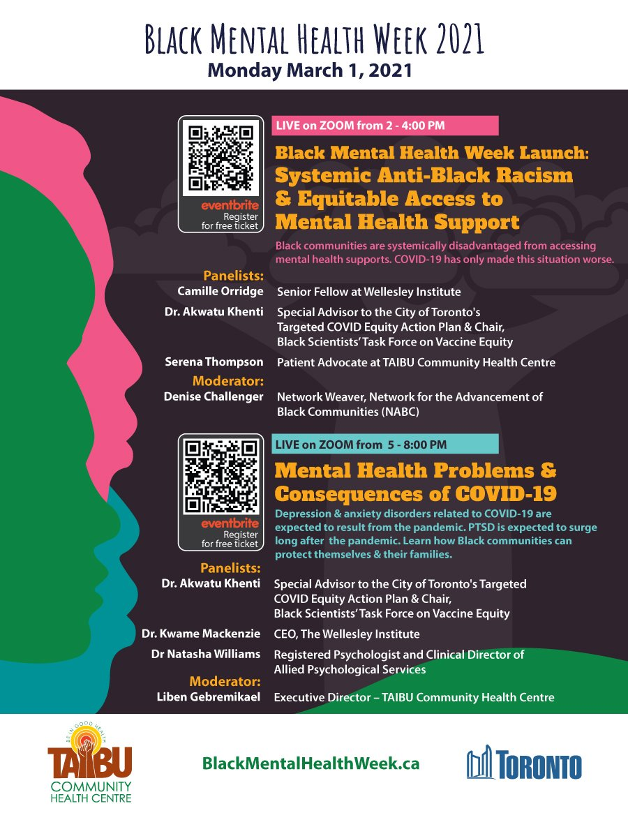 We are marking Black Mental Health Week from March 1st to March 5th. This is the launch. More information to come about events during the week.... see you all at the events @cityoftoronto @CABR_Toronto
