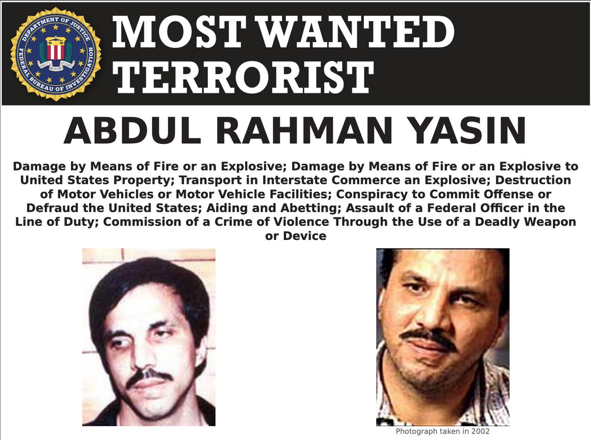 On the anniversary of the 1993 World Trade Center bombing, help the #FBI find Abdul Rahman Yasin, wanted for his alleged participation in the attack. @RFJ_USA offers up to $5 million for information leading to Yasins apprehension or conviction. #NatSec ow.ly/GWWQ50DKJuu