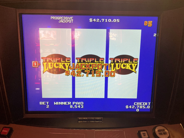 🚨 #Jackpot Alert 🚨   A lucky guest won $42,715.00 playing Triple Lucky 7s! Congratulations!  #DestinationFun #WinBig