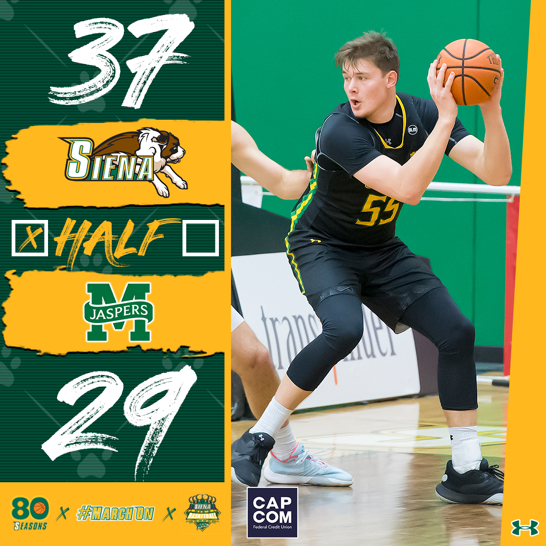 🆙8⃣ at the break @JacksonStormo leads the way with a dozen #MarchOn | #SienaSaints | #MAACHoops | #NCAAM | #Attack | #Finish | #EAT