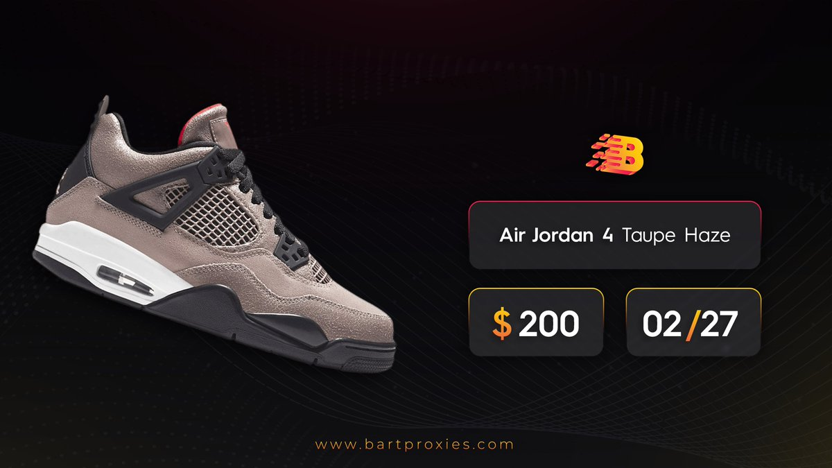 """Air Jordan 4 """"Taupe Haze""""! 🌐  Get your proxies now  (Instant Delivery) Discount Code: ISP20 / RESI20  Giveaway 🎁 Retweet - Tag Friend - Follow to win 2GB RESI   Ends 12AM EST ✅"""