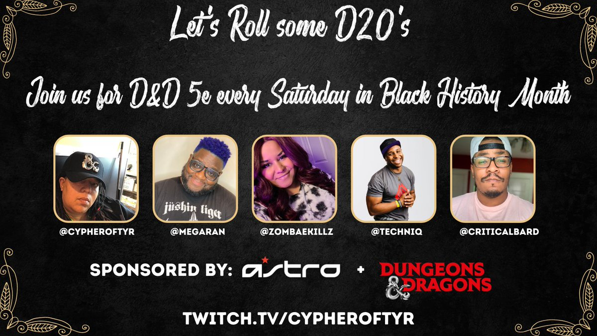 Catch up on #DnDWithTheHomies before our final #BlackHistoryMonth episode tomorrow! #Sponsored by @ASTROGaming & @Wizards_DnD #Ad   Ep 02:  Ep 01:  Ep 00: