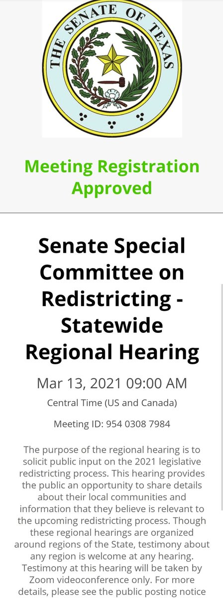 Well, today was canceled. Trying again on March 13.  If you want to register too, do it here.  #texas #austintx #Senate #redistricting #gerrymandering #testimony #Committee #hearing #zoom