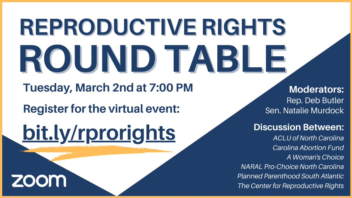 Learn more at our Virtual Reproductive Rights Roundtable on Tuesday night at 7 pm. You'll hear from experts and advocates, as well as lawmakers about our bill, the #RBGAct. Sign up at  #ncpol #ReproRights