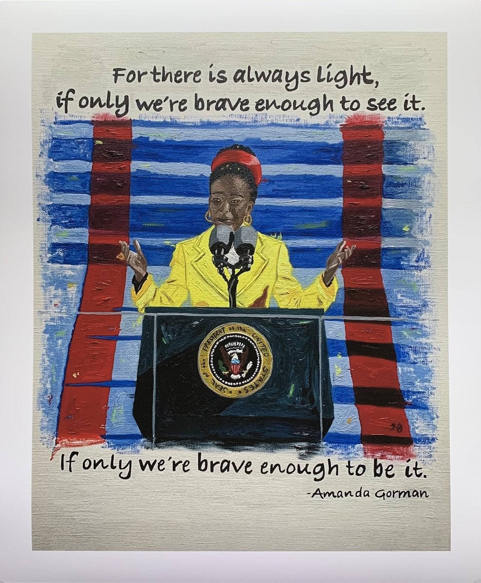 I've got Amanda Gorman prints, magnets, and stickers available now! Get yours at . Original painting sold. #AmandaGorman #Inauguration2021 #inauguralpoet #inauguralpoem