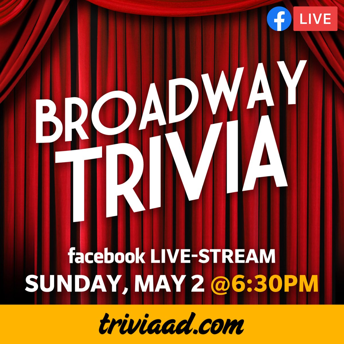 #Broadway #Trivia via Facebook Live-Stream on Sunday, May 2 at 6:30pm EST. RSVP to the Facebook event at;  #Hamilton #Wicked #Rent #Wicked #LesMiserables