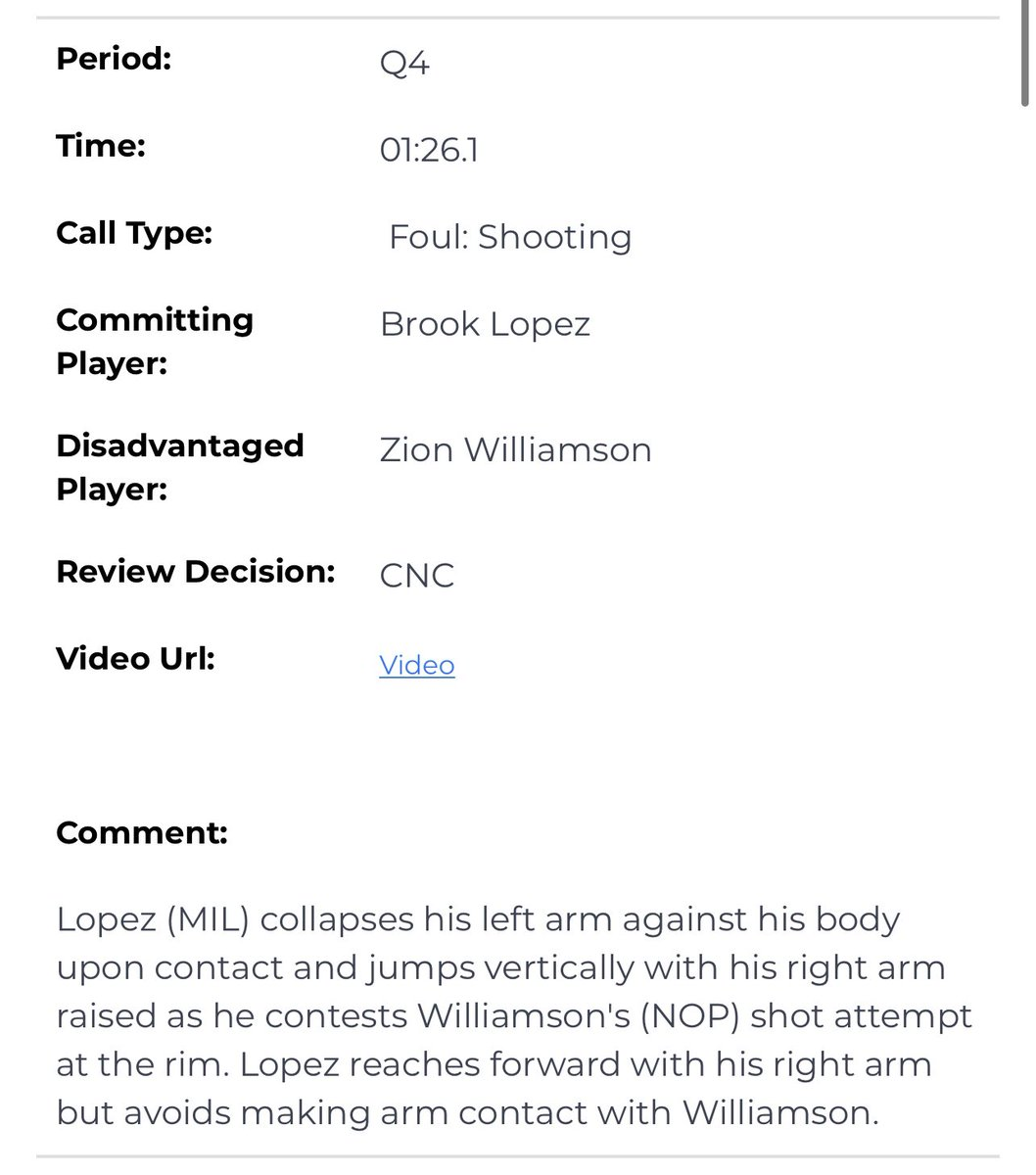 There were three incorrect calls in the final 20 seconds in last night's Bucks/Pelicans game.   But the one you may have thought was incorrect - Brook Lopez vs. Zion with 1:26 left - was ruled to be the correct non-call in today's L2M report.