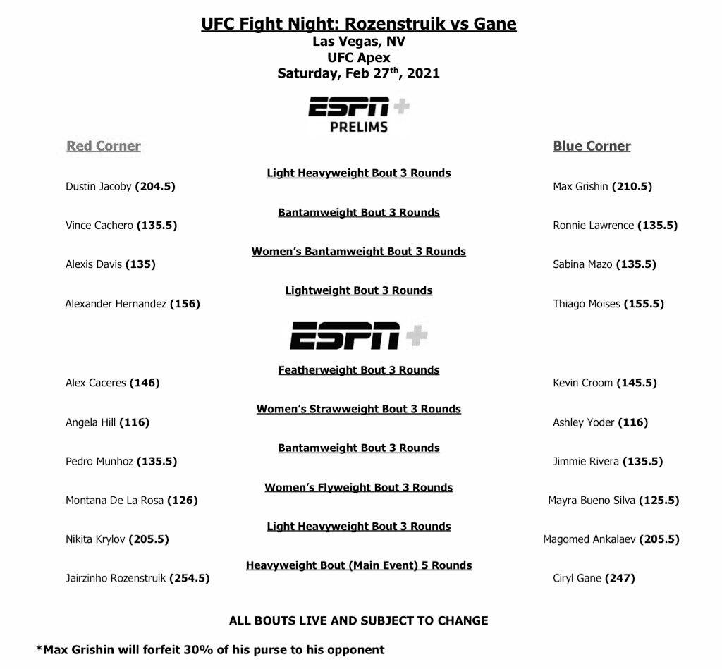 Tenemos oficialmente 10 peleas para el #UFCVegas20 mañana desde Las Vegas !  (Grishin fallo el peso de 205lbs)   No se pierdan de la accion en vivo por #ESPNPlus amigos y amigas del mundo de combate!   @UFCEspanol @UFCEurope @UFCFightPass @espnmma @ESPNDeportes #peleas