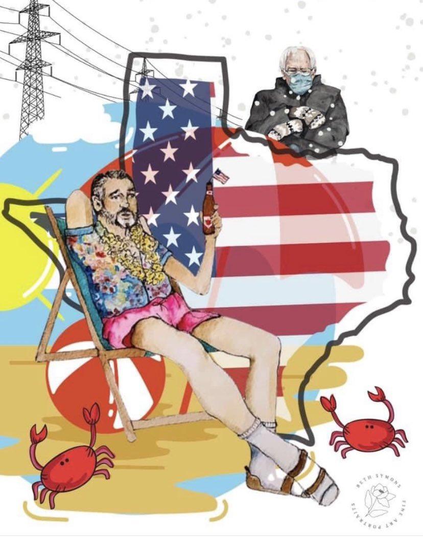Bryan-College Station artist recreates Ted Cruz locker room memes 😂  #TedCancunCruz #cruztocancun #TedFled #Memes #ArtistOnTwitter #funny #art #TexasBlackout #TexasStrong #digitalart #senate #NEW #BethSymonsFineArt