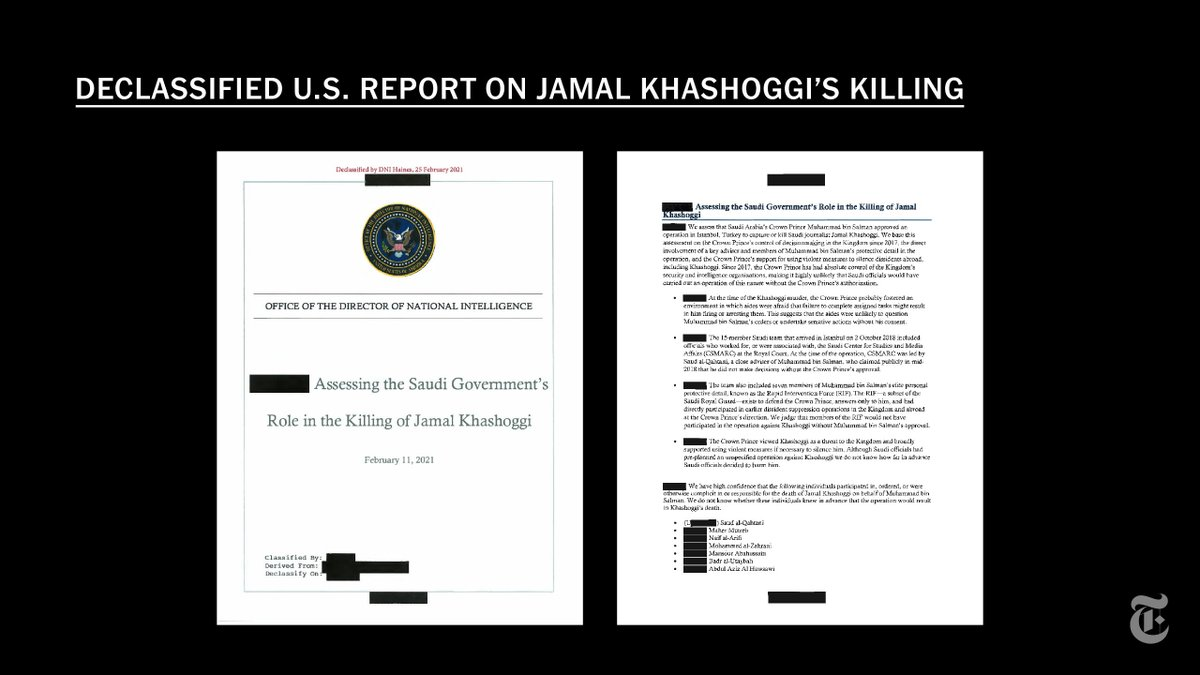 """""""We assess that Saudi Arabia's Crown Prince Mohammed bin Salman approved an operation in Istanbul, Turkey to capture or kill Saudi journalist Jamal Khashoggi.""""   Read the executive summary of the declassified U.S. intelligence report. https://t.co/pyuW7AgnXZ https://t.co/FvInTL4GmZ"""