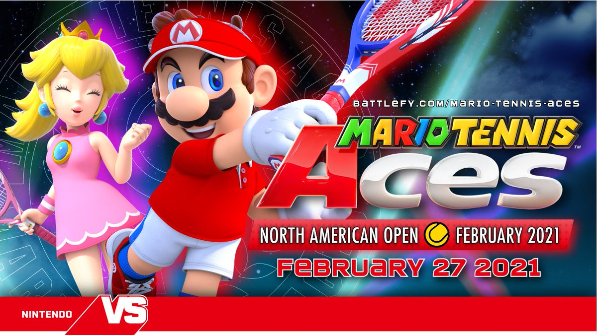 We're. So. Excited. For. Tomorrow! The #MarioTennis Aces NA Open February 2021 tournament starts tomorrow at 10AM PT! See you on the court. 🎾   There's still time to register here: