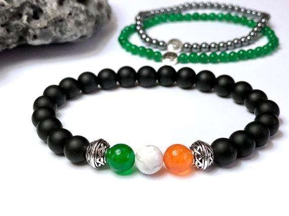 Now on sale! ☘️Gear up for St. Paddy's Day! • Here's our Irish flag bracelet in choice of 2 bead sizes. Optional coordinating slim bracelet(s). A handmade original.  #etsymntt #bracelet #Irish #StPatricksDay #gift #style
