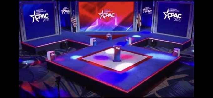 The stage at #CPAC2021 is in the shape of a famous Nazi symbol. The Odal rune was used heavily by the SS, including on their uniforms. Maybe a coincidence, but white nationalists will see this as yet another overt signal from the @GOP (stand back & stand by).