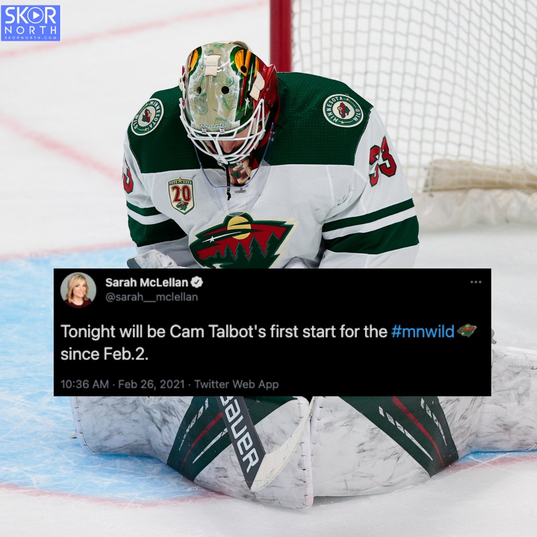 HE'S BACK: Cam Talbot will start in net for the first time since Feb. 2.  #mnwild