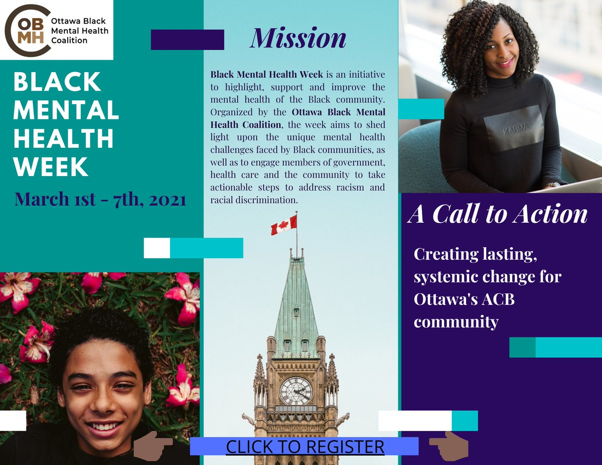 #Black #Mental #Health Week starts THIS MONDAY, March 1st! Join us for an exciting week of keynote speeches by #politicians, Black #scholars and prominent individuals, and a final concert in collaboration with @uOttawa School of Music! Register for events: