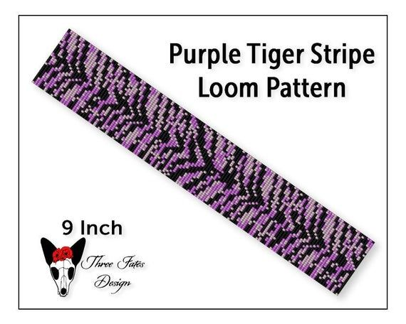 Seed Bead Bracelet Pattern Animal Print Loom or Square | Etsy   #purple #tiger #animalprint #threefatesdesign #etsyshop #beaded #bracelet #pattern #diy