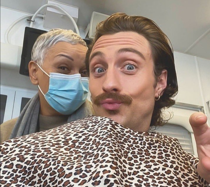 Aaron Taylor-Johnson in hair and make-up for David Leitch's #BulletTrain
