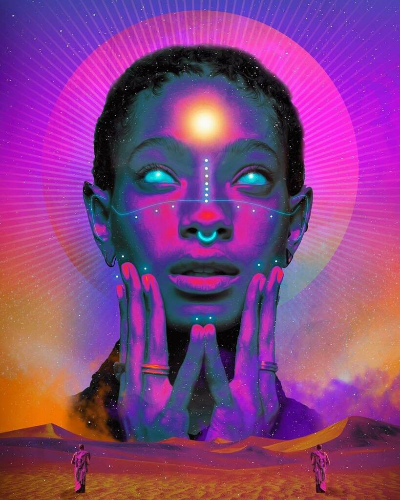 NURU art by @creativepowerr ・・・ Nuru✨ @willowsmith   . . . .  . . . . . . . . . . . . . .  .#art #collage #digitalcollage  #surrealism  #digitalart #collageartist #black #blackart #blackartist  #africa #africanart #africanartwork #dominicanartist #co…