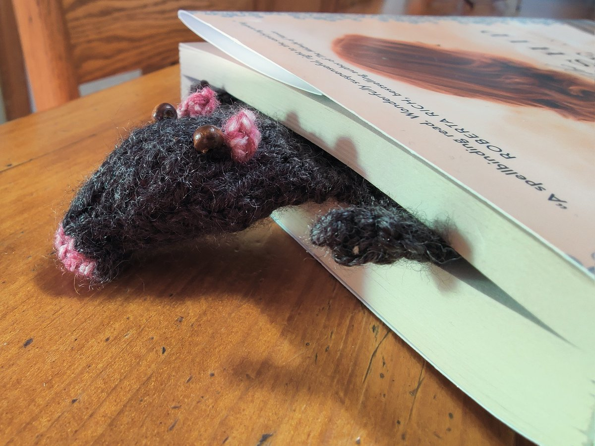 Finished my #FlatRat #bookmark today!  He is so cute I think I'll call him #Templeton #rats #black #bookworm #knitting #animals #covidcrafts #farmerswife