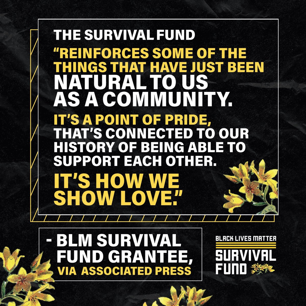Black people keep Black people safe. Yesterday, the #BLMSurvivalFund met its goal of committing $3 mil to Black people in need. BLMGNF has now committed $25 mil to Black ppl since 2020. Read our @AP exclusive by @aaronlmorrison to learn more.
