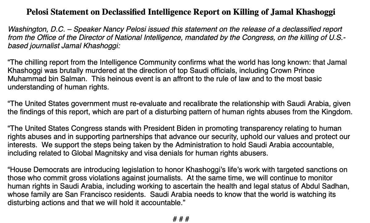 "Pelosi, on the MBS/Khashoggi report: ""The United States government must re-evaluate and recalibrate the relationship with Saudi Arabia, given the findings of this report, which are part of a disturbing pattern of human rights abuses from the Kingdom."""