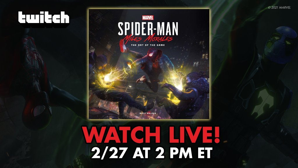 """Join us TOMORROW at 2PM ET on our Twitch as we give you an inside look at the """"Marvel's Spider-Man: Miles Morales – The Art of the Game"""" book from @TitanBooks! The live Q&A features @BrianHortonArt, @JasonHickeyArt, @GavinGoulden, and author @MattRalphs2:"""