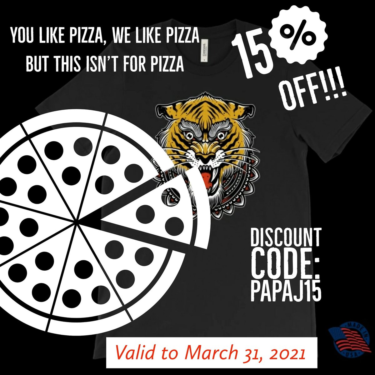 Discount on a new fav t-shirt!!! Made in the USA!!! While in the store, everything else is 15% off too!!    #tshirt #tigers #tshirts #tiger #teeshirt #oldschool #pizza #discount #madeintheusa #tigerking #okitsnottigerking  📷: PapaJ_Clothing on Instagram