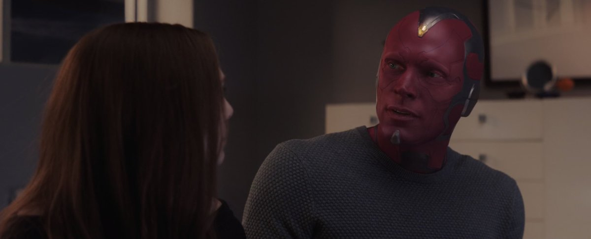 """""""What is grief, if not love persevering?""""  The best line in this show and one of the best lines in all of the MCU . This whole scene between Wanda and Vis is beautiful , it's the beginning of a beautiful relationship . One that we hopefully don't see end next week😭 #WandaVision"""