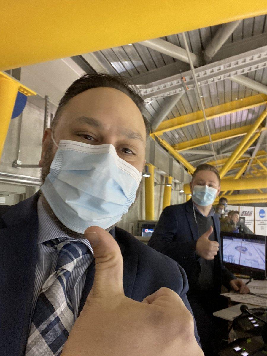 We're ready for pick drop in Hamden! @danbahl & I bringing you @QU_WIH hockey vs @ColgateWIH at the top of the hour on #ESPNPlus - final weekend before @ecachockey tournament!   📺   #CawlidgeHawkey  #BobcatNation   @ecachockey @NCAAIceHockey