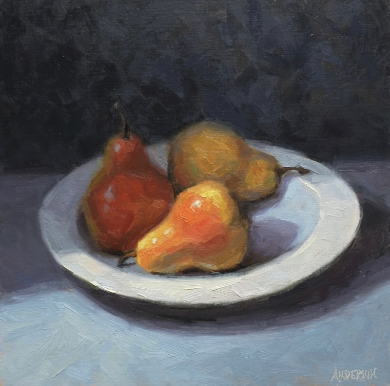 """Red Between The Lines"" Exhibit & Sale at Framed Image Trop of Pears by Janet Anderson, oil, 12x12,  $925. https://t.co/qQyOyMcTXN #artgallery #art #Colorado #Denver #fineart #interiors #artwork #interiordesign #DenverArtGallery #giftideas #pears https://t.co/qBl3FZSOqq"