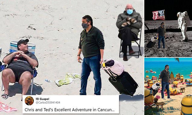 @KasaKerri What does the two beach 🏝 🏖 boys have in common? Definitely not working for the people... Chris Christie and #TedCruz' excellent adventure in Cancun.  They love 💙 to go to the beach ⛱⚽️ when the people are in a crisis, Bernie does not. #DontKillItBernie #BerniesMittens