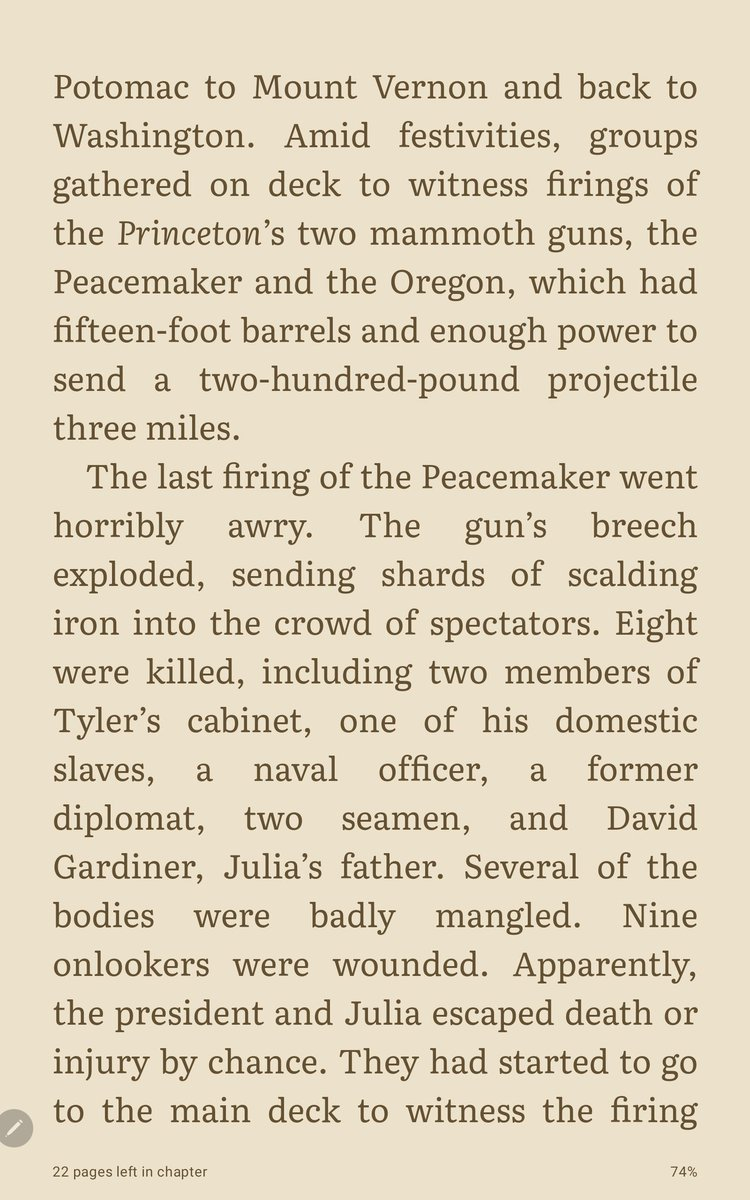Here's a presidential tale I had never heard before. Apparently two members of John Tyler's cabinet were killed - and Tyler himself nearly enjoyed the same fate - during when the celebratory firing of the guns of the newly launched USS Princeton went awry. https://t.co/CtDho3iw1Q