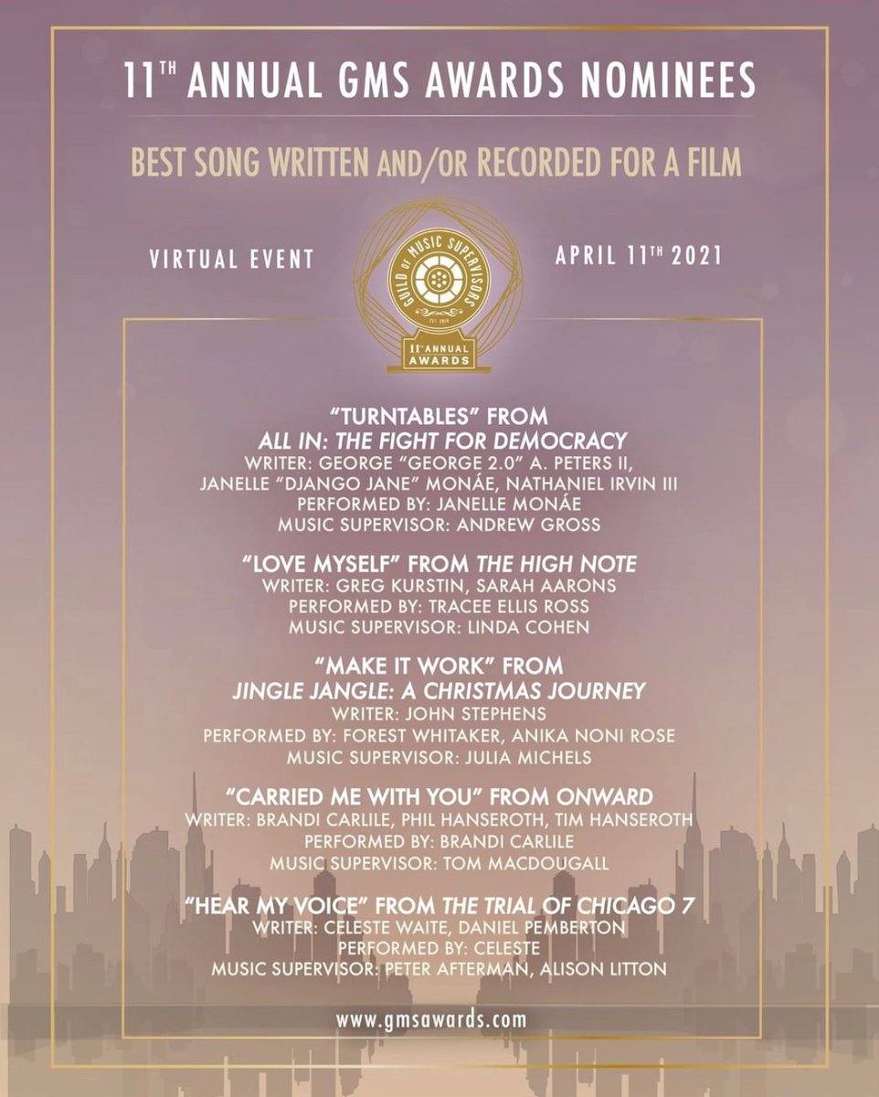 So grateful for this nomination! Thank you Anika and Forest! Thank you @DavidETalbert! Thank you @guildofmusic! #JingleJangleNetflix #MakeItWork