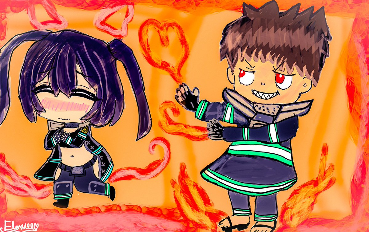 Wanna get firey and spicy with Tamaki and Shinra from Fire Force I usually don't make chibi or anime characters but I did it for @Darikyun and I'll sure make more anime characters in the future! 🔥😃#FIREFORCE #AnimeArt #ArtistOnTwitter #artshare #Chibi #cuteart #digitalart