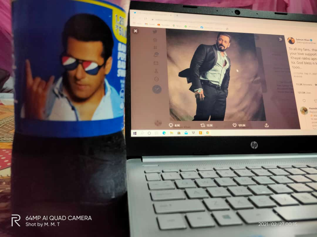 I am a fan of Salman Khan.  If you feel lonely at night, if you are upset, then watch Salman Khan's movie, the mood will be fine.❤️ #SaturdayThoughts #SaturdayMorning #SalmanKhan #salmankhansong #SalmanOnIPML #Salmaniacs #BeingHuman #PEPSI #Twitter #TrendingNow #Skf  @PepsiIndia