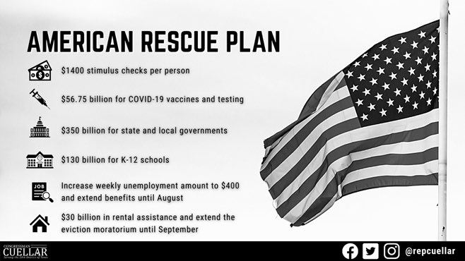 Today, the House will vote to pass the American Rescue Plan Act, which will crush the virus, return children safely to the classroom, get vaccines to the people, put dollars into families' pockets and put people back to work.