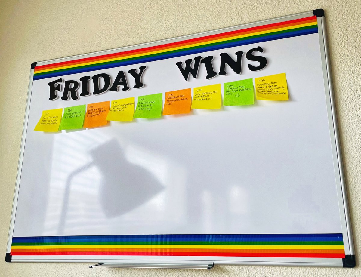 """Always find ways to motivate yourself. Our """"Friday Wins"""" board reminds us about all our accomplishments, big and small 🥰 #startup #smallbusinessowner #smallbusinesssupport #entrepreneur #entrepreneurlife #motivation #inspiration #startups"""