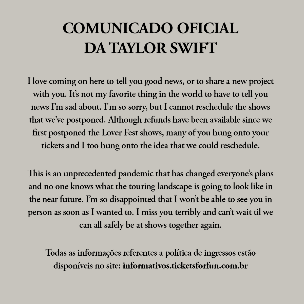 Comunicado oficial da Taylor Swift no Brasil: