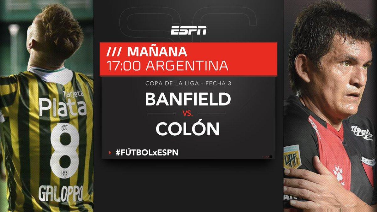 ¡Duelo de líderes en el Florencio Sola! #Banfield y #Colón, con puntaje ideal en la #CopaDeLaLiga, se enfrentarán este sábado por la 3° fecha y podrás disfrutarlo EN VIVO por #ESPN.