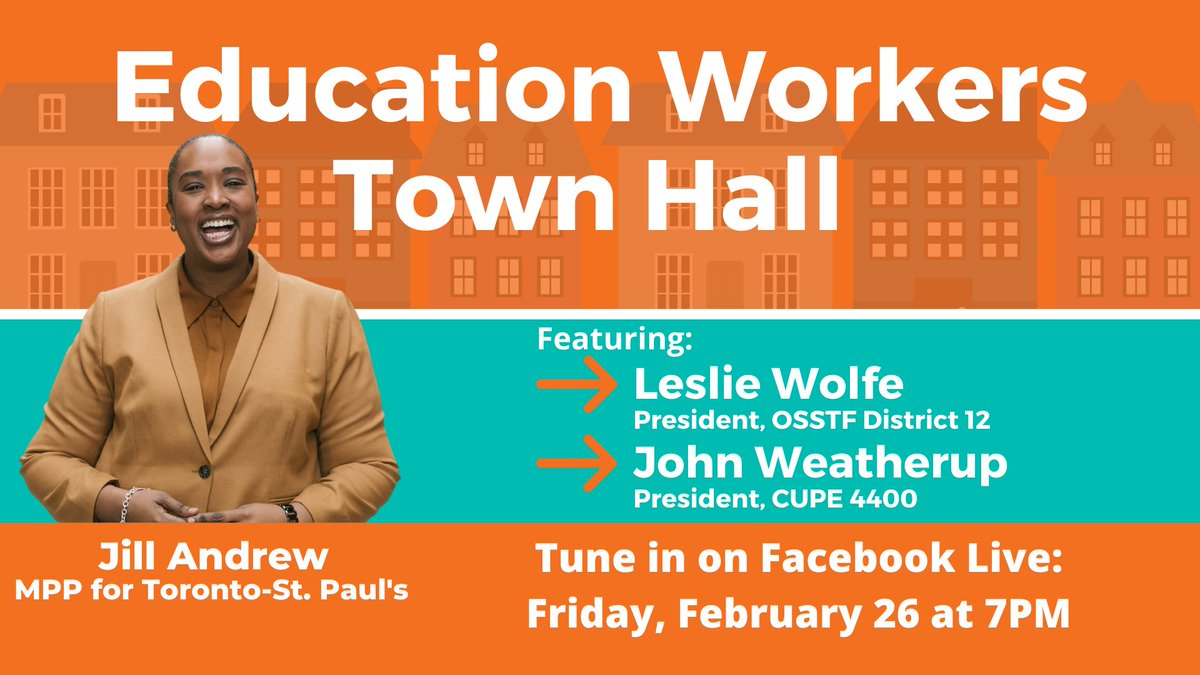 Make sure to tune in! 🚨  Education Workers Town Hall starting at 7PM on Facebook Live! #onpoli #onted    You can tune in by clicking here: 👇🏾👇🏾
