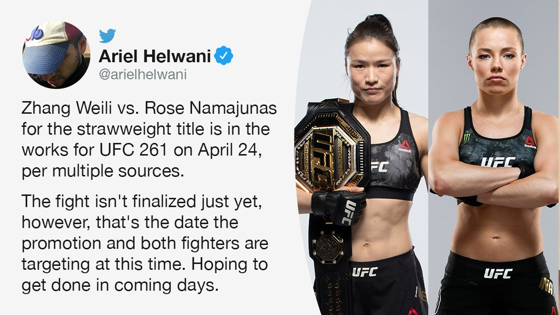 """Replying to @espnmma: Zhang vs. Rose is """"in the works"""" for April 24, multiple sources tell @arielhelwani."""