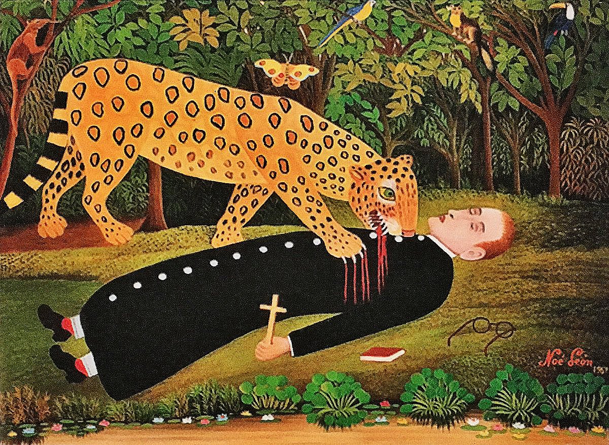 Missionary being eaten by jaguar (by Noé León, 1907). https://t.co/rtKfZT7cby