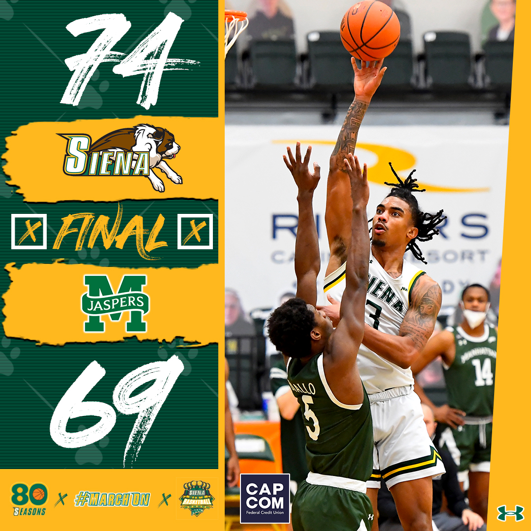 #SienaSaints 𝐖𝐈𝐍‼️ Siena moves into a tie atop the @MAACHoops leaderboard with victory #⃣🔟❗️ #MarchOn | #MAACHoops | #NCAAM | #Attack | #Finish | #EAT