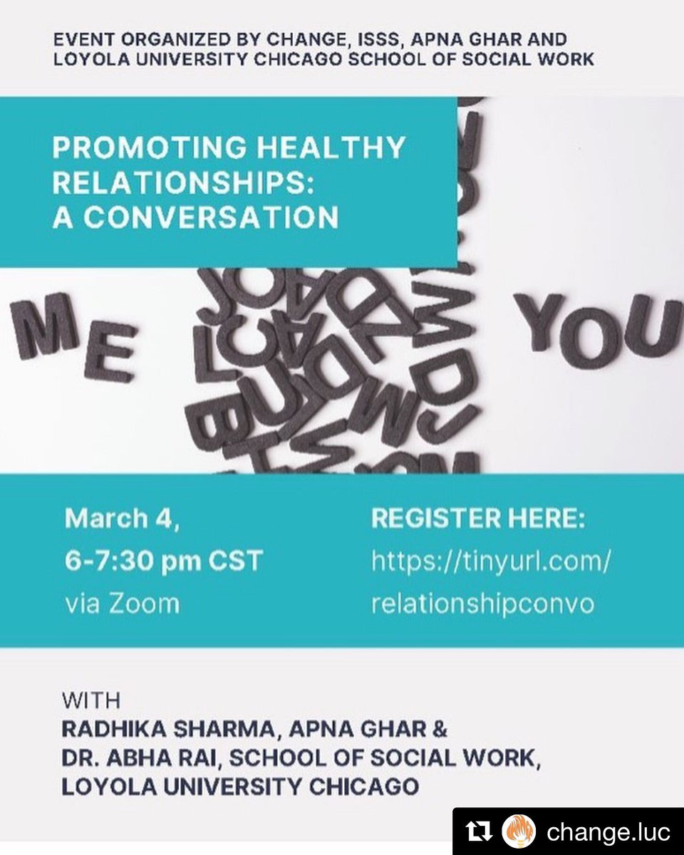 We are looking forward to this conversation on 3/4/21 at 6:00pm. Register today at  to discuss healthy relationships #ApnaGhar #EndGBV #GenderJustice