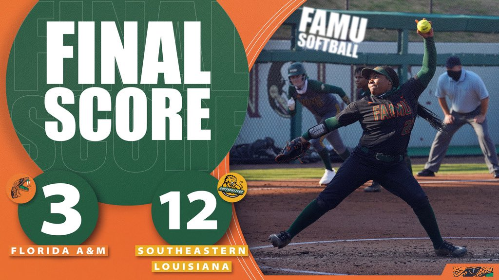 Game 2: FINAL  @FAMU_Softball is back in action TOMORROW as they face Florida Gulf Coast  in part 2 of the Unconquered Invitational   #FangsUp #FAMU #FAMULY #RunItBack🐍🥎
