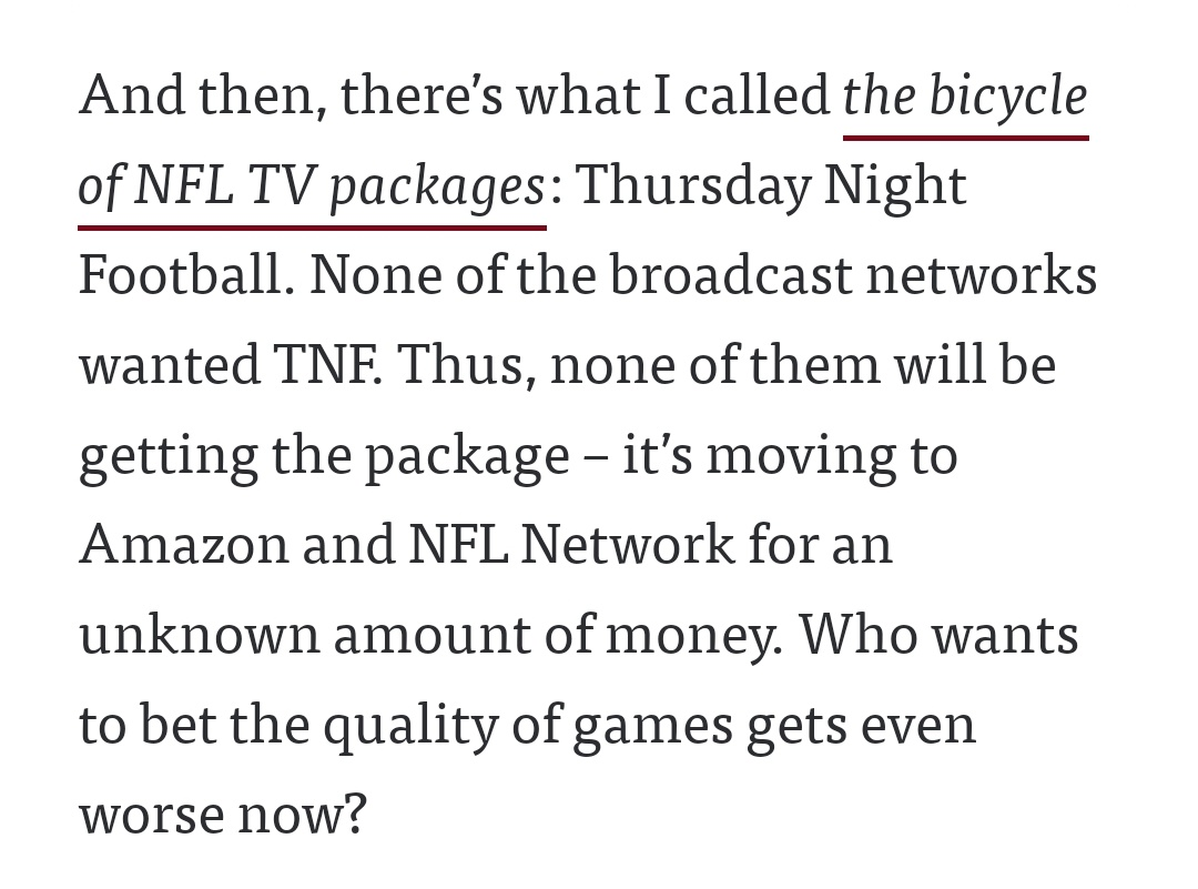 This is just hilarious!  NONE of the networks wanted Thursday Night Football so it's moving to Amazon and NFL Network only. Why even bother with TNF? #NFL @NFL @espn @nflnetwork @NFLonFOX