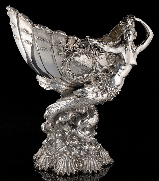 """Tiffany & Co. Silver Goelet Cup, a trophy presented to winner of the 1893 New York Yacht Club race held in Newport, Rhode Island. The 22¼"""" x 22½"""" x 10½"""" trophy sold for $300,000 (est. $150,000/200,000) at @HeritageAuction  #antiques #antique #silver #art"""