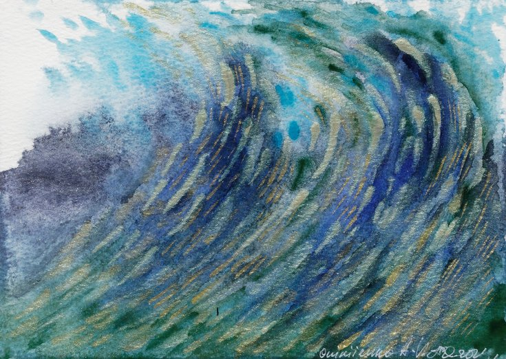 Seascape. Sea sunse… by Anna Onikiienko #watercolor #painting #art  @artfinder