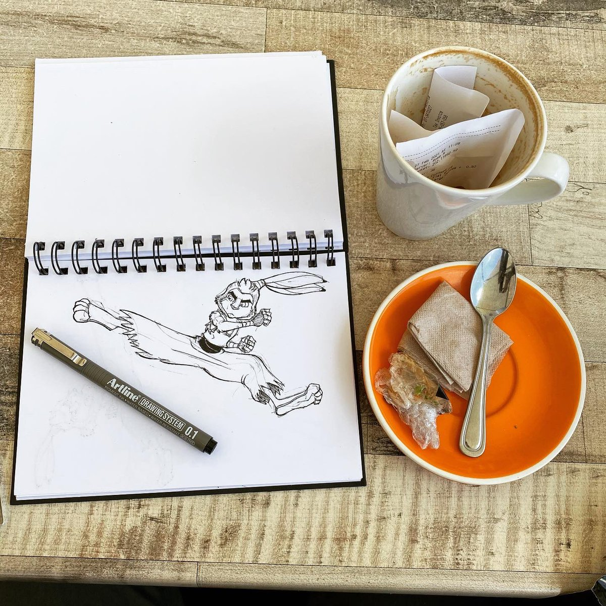 Mid morning coffee with a kick! #traditionalanimation #animation #drawing #art #sketchbook